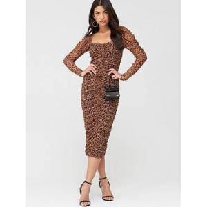 Missguided Missguided Mesh Leopard Puff Sleeve Midi Dress - Brown, Brown, Size 16, Women