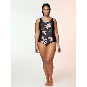 Evans Hibiscus Floral Print Panelled Swimsuit - Black, Black, Size 22, Women