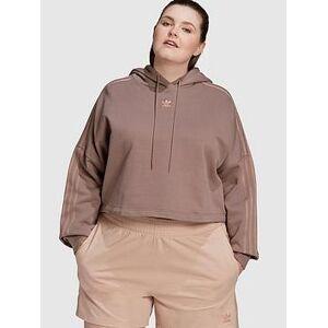 adidas Originals New Neutral Cropped Hoodie - Plus Size - Dark Brown, Brown, Size 2X, Women