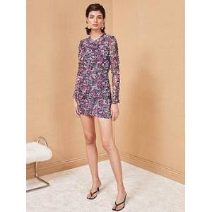Bec & Bridge Anais Floral Print Mesh Mini Dress - Purple