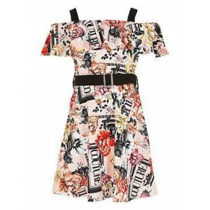 River Island Girls Printed Bardot Belted Dress - Pink, Black, Size Age: 11-12 Years, Women