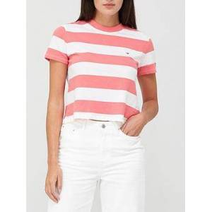 Tommy Jeans Baby Stripe T-Shirt - Pink, Pink, Size L, Women