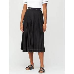 Calvin Klein Sunray Pleat Midi Skirt - Black, Black, Size 26, Women