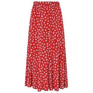 Monsoon Arwin Daisy Print Skirt - Red, Red, Size L, Women
