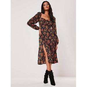 Missguided Missguided Floral Milkmaid Long Sleeve Midi Dress  - Navy, Navy, Size 8, Women