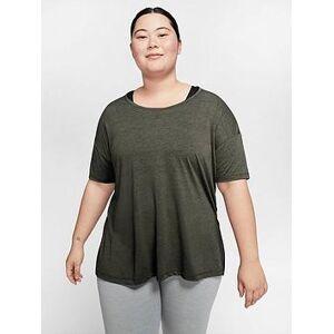 Nike Curve Yoga T-shirt - Khaki, Khaki, Size 18-20=1X, Women