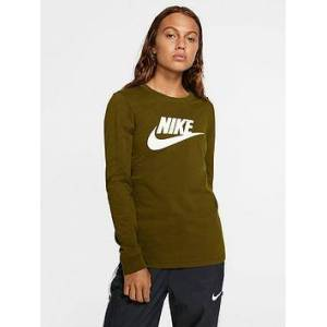 Nike NSW Essentials Icon Futura Long Sleeve Top - Olive , Olive, Size M, Women