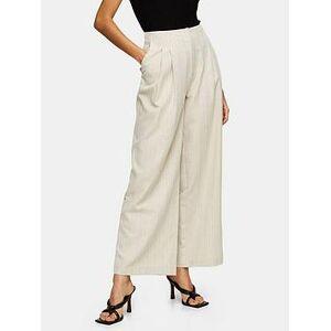 Topshop Herringbone Wide Leg Trousers - Oat, Cream, Size 6, Women