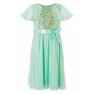 Monsoon Girls Ellie Cape Sequin Dress - Mint, Mint, Size 11 Years, Women
