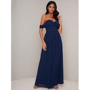 Chi Chi London Chi Chi Laine Chiffon Maxi Dress - Navy, Navy, Size 14, Women