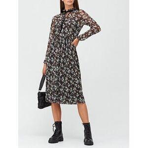 V by Very Long Sleeve Mesh Tie Neck Midi Dress - Black/Floral, Black Floral, Size 6, Women