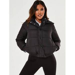 Missguided Missguided Hooded Padded Jacket - Black, Black, Size 14, Women