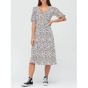 V by Very Curve Seam Floaty Midi Dress - Spot Print, Pink Spot, Size 22, Women