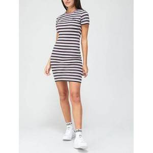 adidas Originals Comfy Cords Striped Dress - Black/Purple , Black/Purple, Size 6, Women