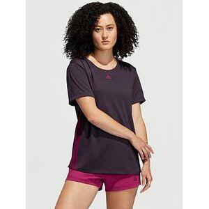 adidas 3 Stripe Training T-Shirt - Purple , Purple, Size L, Women