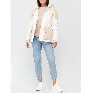 Calvin Klein Jeans Eco Blocking Padded Jacket - Cream, Cream, Size L, Women