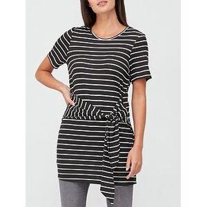 V by Very Tie Waist Tunic Top - Stripe, Stripe, Size 6, Women