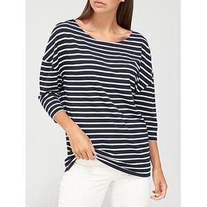 V by Very Stripe Drop Shoulder Oversized T-Shirt - Navy/Stripe, Navy Stripe, Size 10, Women