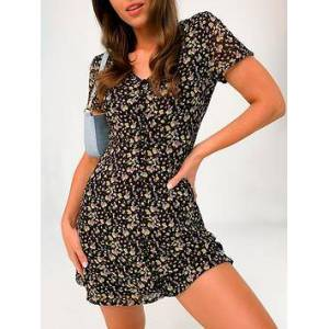 Missguided Missguided Button Through Floral Tea Dress - Black, Black, Size 6, Women