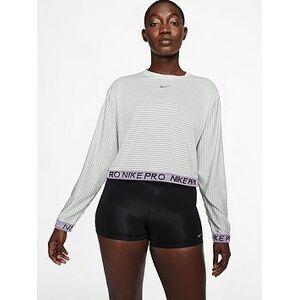 Nike Training Pro Mesh Top - Grey, Grey, Size L, Women