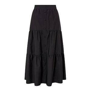 Monsoon Patty Poplin Tiered Skirt - Black, Black, Size L, Women