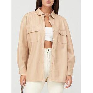 Missguided Missguided Drop Shoulder PU Shirt, Cream, Size 6, Women