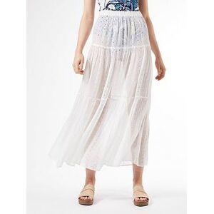 Dorothy Perkins Cutwork Tiered Skirt - Ivory , Cream, Size L, Women