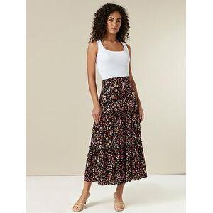 Wallis Floral Maxi Skirt - Black, Black, Size 18, Women
