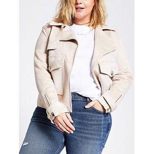 RI Plus Pocket Detail Suedette Jacket - Light Brown, Light Brown, Size 24, Women