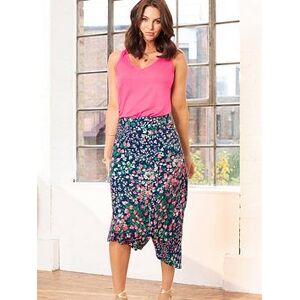 Pour Moi Slinky Jersey Asymmetric Midi Skirt - Navy Floral, Navy Floral, Size 22, Women