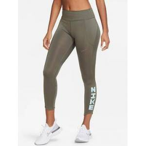 Nike Running Icon Clash Leggings - Olive , Charcoal, Size S, Women