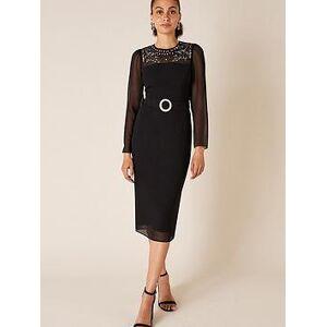 Monsoon Donatella Embellished Shift Dress - Black, Black, Size 10, Women