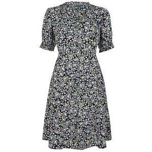 Monsoon Ditsy Print Organic Cotton Dress - Navy, Navy, Size L, Women