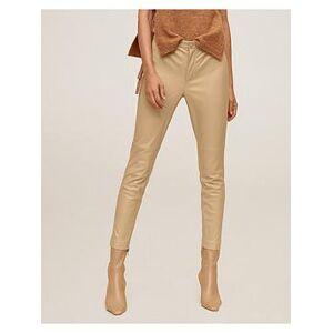 Mango High Waist PU Leather Look Leggings - Light Brown, Light Brown, Size Xs, Women