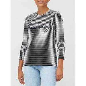 Superdry Stripe Graphic NYC Top - Navy, Navy, Size 14, Women