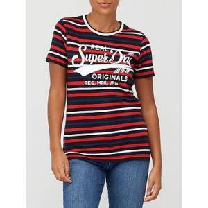 Superdry Graphic Stripe T-Shirt - Navy, Navy, Size 12, Women
