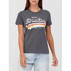 Superdry Vintage Label T-Shirt - Grey, Grey, Size 14, Women