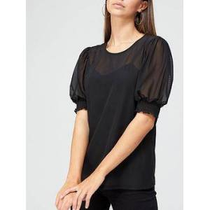 V by Very Mesh Puff Sleeve Top - Black, Black, Size 10, Women