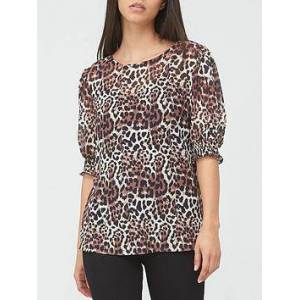 V by Very Mesh Puff Sleeve Top - Animal, Animal, Size 24, Women