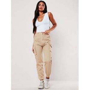 Missguided Missguided Plain Cargo Trousers - Sand, Sand, Size 10, Women