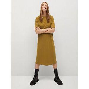 Mango Jersey Midi Dress - Yellow, Mustard, Size L, Women