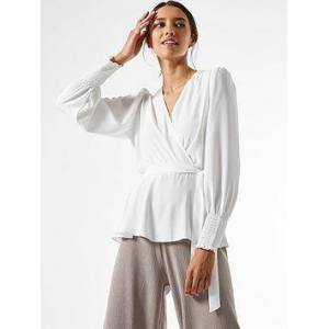 Dorothy Perkins Plain Shirred Cuff Wrap Top - Ivory, Ivory, Size 12, Women