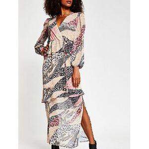 River Island Mixed Animal Print Chiffon Peplum Maxi Dress - Pink, Animal, Size 12, Women