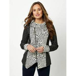 Joe Browns Leopard Zip Thru Sweat - Grey, Grey, Size 8, Women
