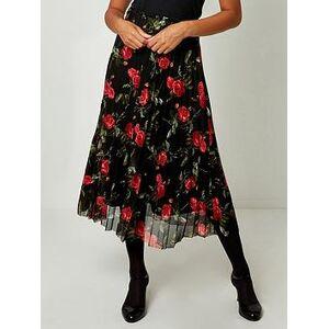Joe Browns Pleated Mesh Skirt - Black, Black, Size 18, Women