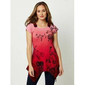 Joe Browns Button Shoulder Print Top - Red, Red, Size 12, Women