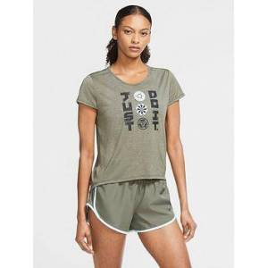 Nike Running Icon Clash T-Shirt - Khaki , Khaki, Size Xl, Women