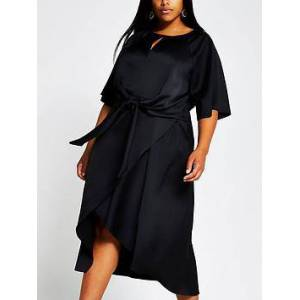 RI Plus Tie Side Asymmetric Midi Dress - Black, Black, Size 22, Women