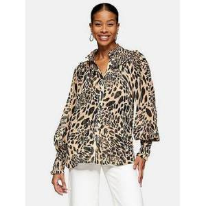 Topshop Animal Shirred Blouse - Monochrome, Brown, Size 14, Women