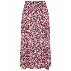 Monsoon Ditsy Print Sustainable Midi Skirt - Pink, Pink, Size L, Women